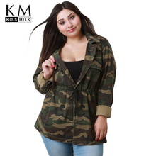 Kissmilk 2018 Plus Size Casual Camouflage Women Coats Large Drawstring Female Jackets Big Lady Loose Outwears 3XL-7XL