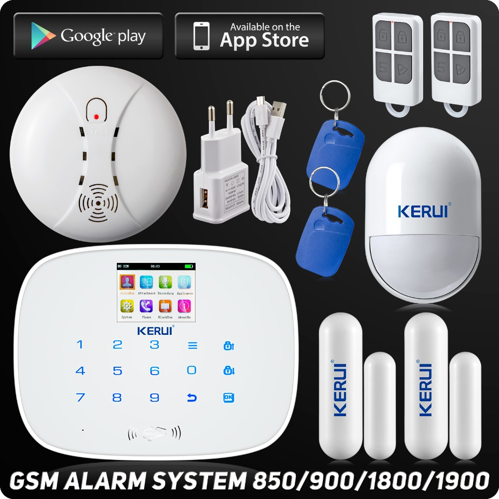 Kerui LCD Touch Screen GSM SMS RFID Wireless Alarm Security Home System Android IOS APP Pet Immune PIR Sensor Door open remind free shipping guard wireless 3 pet friendly pir 8 door sensor gsm sms text alarm system screen remote intercom arm disarm
