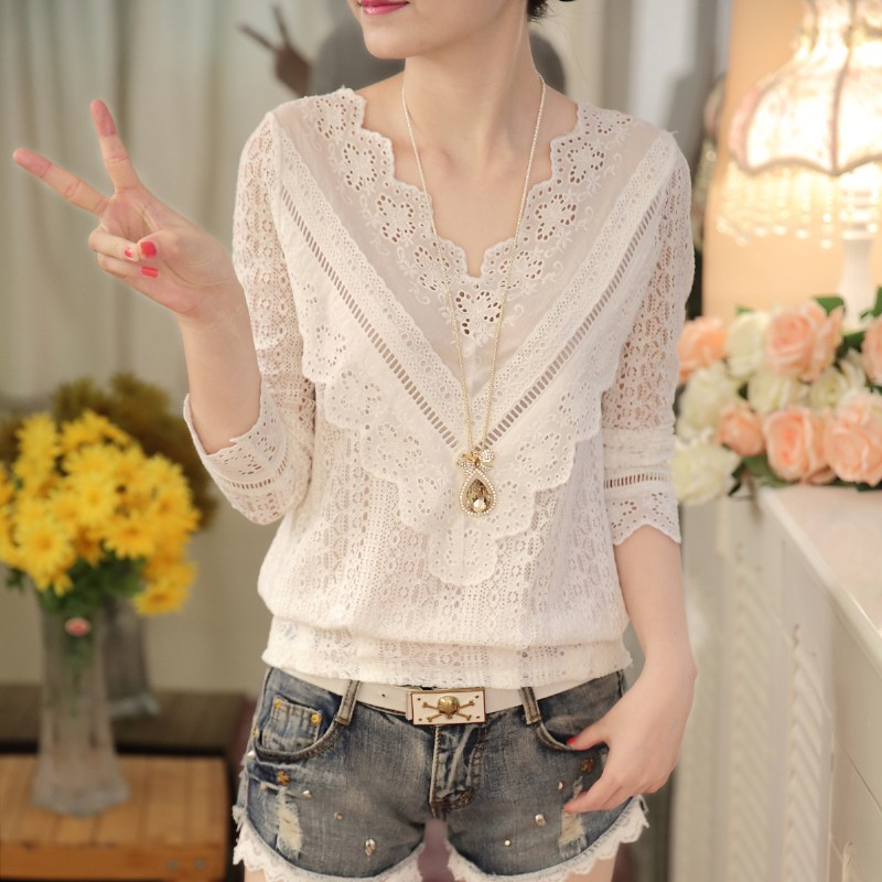 Female Shirt Women Blouse Spring Lace Long-Sleeve V-Neck Korean-Fashion New-Arrival 30 title=