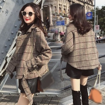 179cf661221 2019 Новый Осень Для женщин клетчатая куртка Верхняя одежда двубортный  короткий смеси пояса для пальто ретро