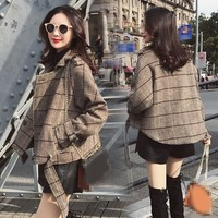 2019 New Autumn Women Plaid Jacket Outerwear Double Breasted Short Blends Coat Sashes Retro Thin Wool Lattice Coat