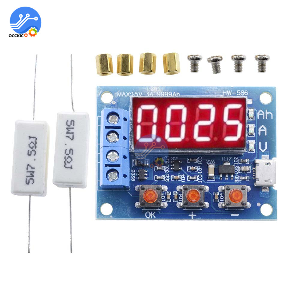 1.2v 12v 18650 HW-586 Li-ion Lithium Battery Capacity Tester + Resistance Lead-acid Battery Capacity Meter Discharge Tester