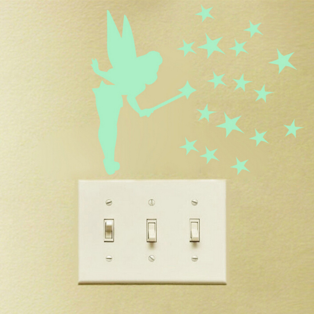Home Decoration Sit Tinker Bell Fluorescent Luminous Switch Wall ...