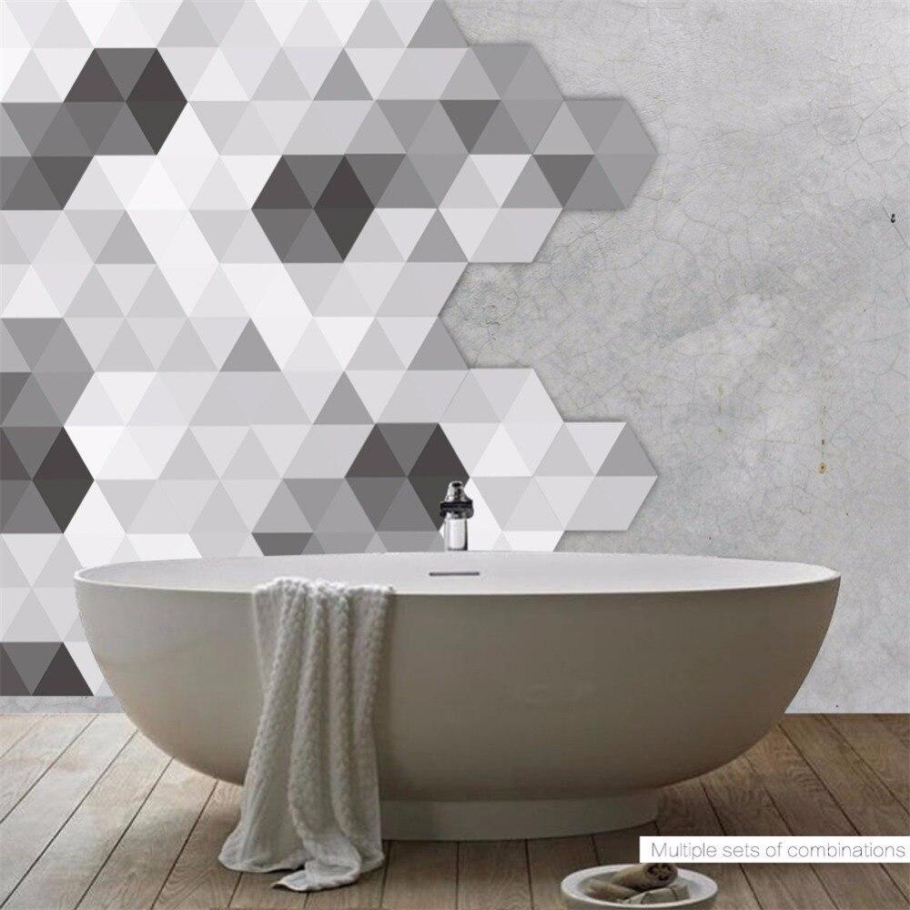 - Yanqiao Black White And Grey Hexagon Floor Sticker Self Adhesive