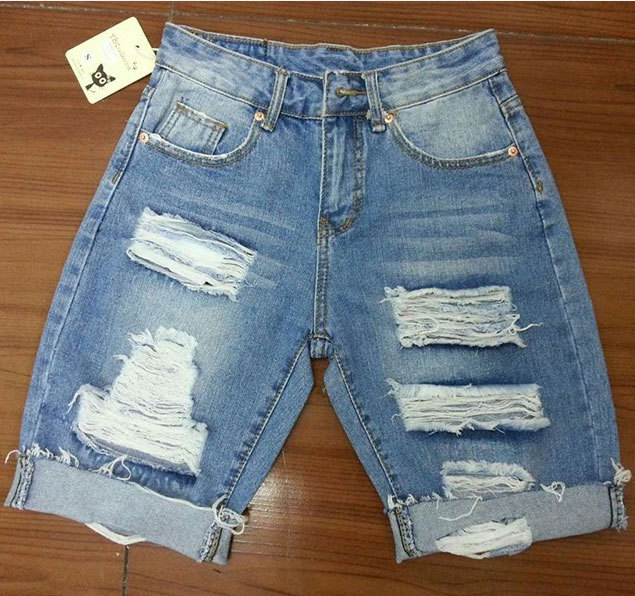 Online Shop BIVIGAOS Summer Womens Loose Denim Shorts Beggar Hole ...