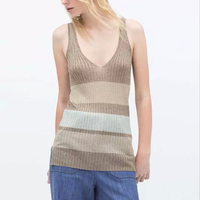 Nice Women Knitted Tank Tops Autumn Sleeveless Knit Vest Tops Casual Slim Striped Tank Tops Front Short Back Long Tops EG YPM125
