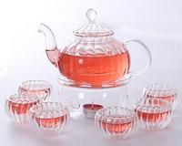 pumpkin Borosilicate Glass Tea Pot Set Infuser Teapot+Warmer+6 Tea Cups