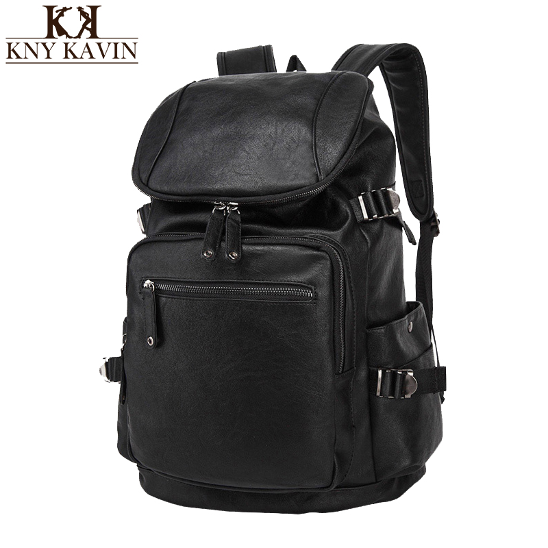 KNY KAVIN Leather Backpack Men's Casual Travel Bags Oil Wax Leather Laptop Bags College Style Male Backpacks Mochila Zip Men цена