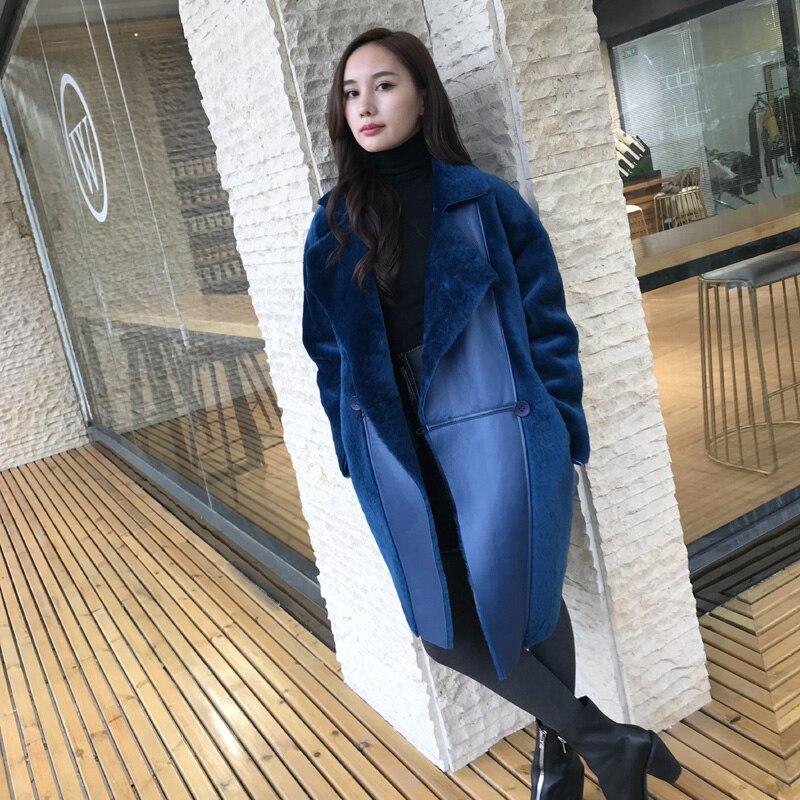 De Vêtements Veste Fourrure Naturel Nouveau Manteau Européenne Femmes Laine Hiver Vintage Bleu Pleine Véritable Automne Femme Pelt Z1100 0Ez0xSPwq