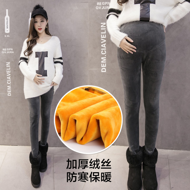 2016 winter new wave of maternal maternity simple plus velvet thickening of pregnant women trousers care belly feet pants
