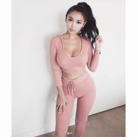 Sexy Pants And Shout t shirt Women Sweatsuits 2018 Two 2 Piece Set Navel Women Cropped Tracksuit Set Suits Track Suit Female z30