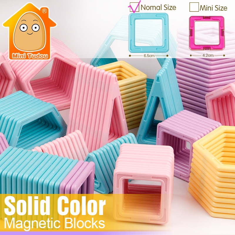 Minitudou New Color 36-66PCS Magnetic Designer Blocks Models & Building Toy Big Size Building Brick Kids Educational 3D DIY Toys mtele brand magnetic designer 68 89 pcs magnetic building in blocks brick toy education educational for toddlers baby kid toy