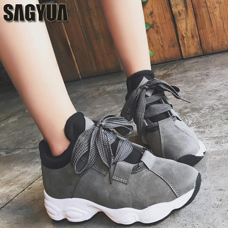 SAGYUA HOT Youth Women Girlish Fashion Casual Lady Shallow Comfort Thicken Bottom Zapatos Sapatos Lace Up Flat Board Shoes T157