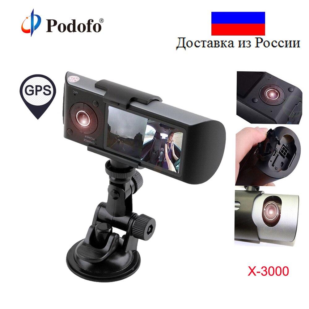 Podofo Voiture DVR Double Objectif R300 Dash Cam 2.7 GPS Caméra 140 Degrés Vidéo Enregistreur De Voiture DVR avec GPS G-sensor Caméscope BlackBox