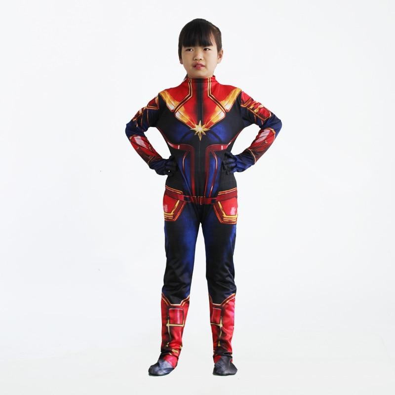Loyaal 2019 Nieuwe Meisjes Captain Kostuum Kinderen Superhero Ms Carol Danvers Bodysuit Jumpsuit Kinderen En Volwassen Cosplay Party Familie Jurk