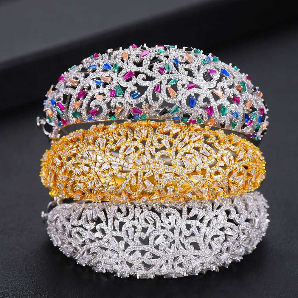 GODKI Luxury Spring Jewelry Sets For Women Wedding Zircon Crystal CZ Qatar Bridal Bangle Ring Sets