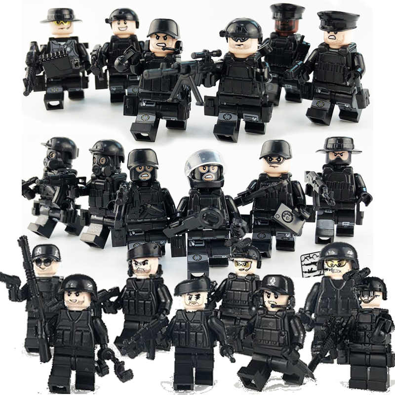 20Pcs/set Military Special Forces Soldiers Bricks Figures Guns Weapons Armed SWAT Building Blocks Ww2 Toys