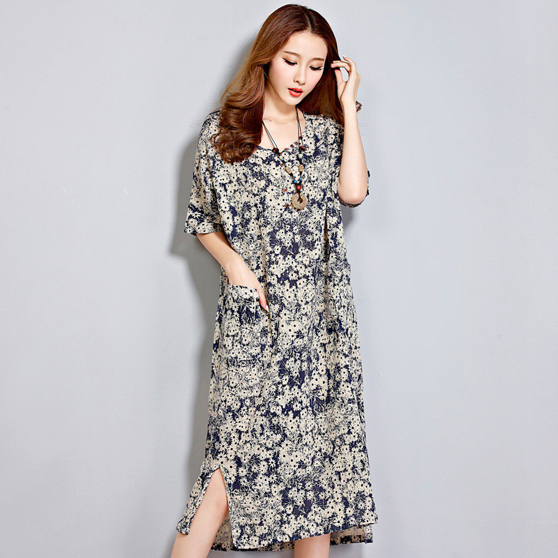 Casual Large Size Clothes For Pregnant Women Dress Printe Flower V-Neck Mid-Calf Straight Dresses Maternity Clothes Pregnancy