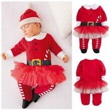 2016 De Noël Bébé Filles Barboteuse Chapeau X'mas Cadeau Ensembles Filles Tutu Jupe Vêtements Dentelle Bebe Vêtements Costume Tenues D'hiver