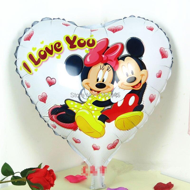 unidslote minnie mickey mouse en forma de corazn globos de papel de aluminio