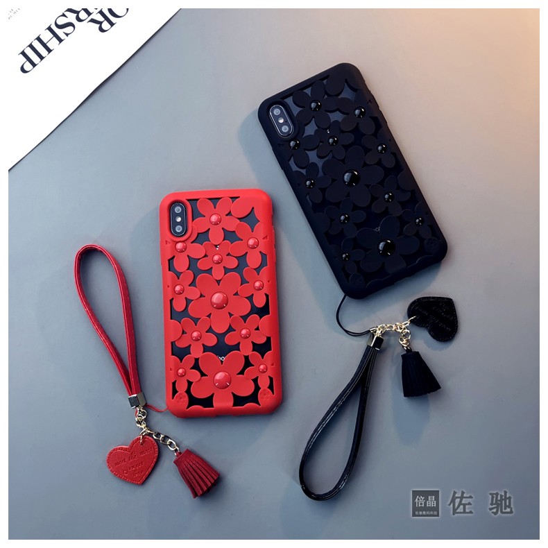 Fashion Emboss Hollow Rose <font><b>Red</b></font> Matte Phone Cover <font><b>Case</b></font> For <font><b>Iphone</b></font> X Xs Max Xr 10 8 7 6 <font><b>6s</b></font> <font><b>Plus</b></font> Luxury Soft Silicone Coque Fundas image