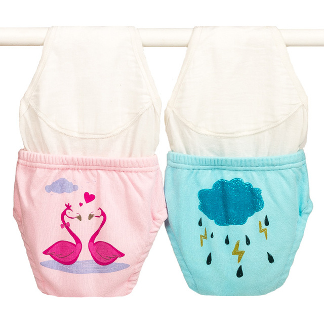 2 PCS Lot Baby Winter Training Pants Double Liners Cotton Nappies For Toddler Boys Girls Reusable Toilet Underwear Diapers