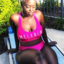 Sexy MELANIN Letter Print Bikini Set Swimwear Women High Waist Bikinis 2019 mujer Swimming suit women monokini Push Up biquini