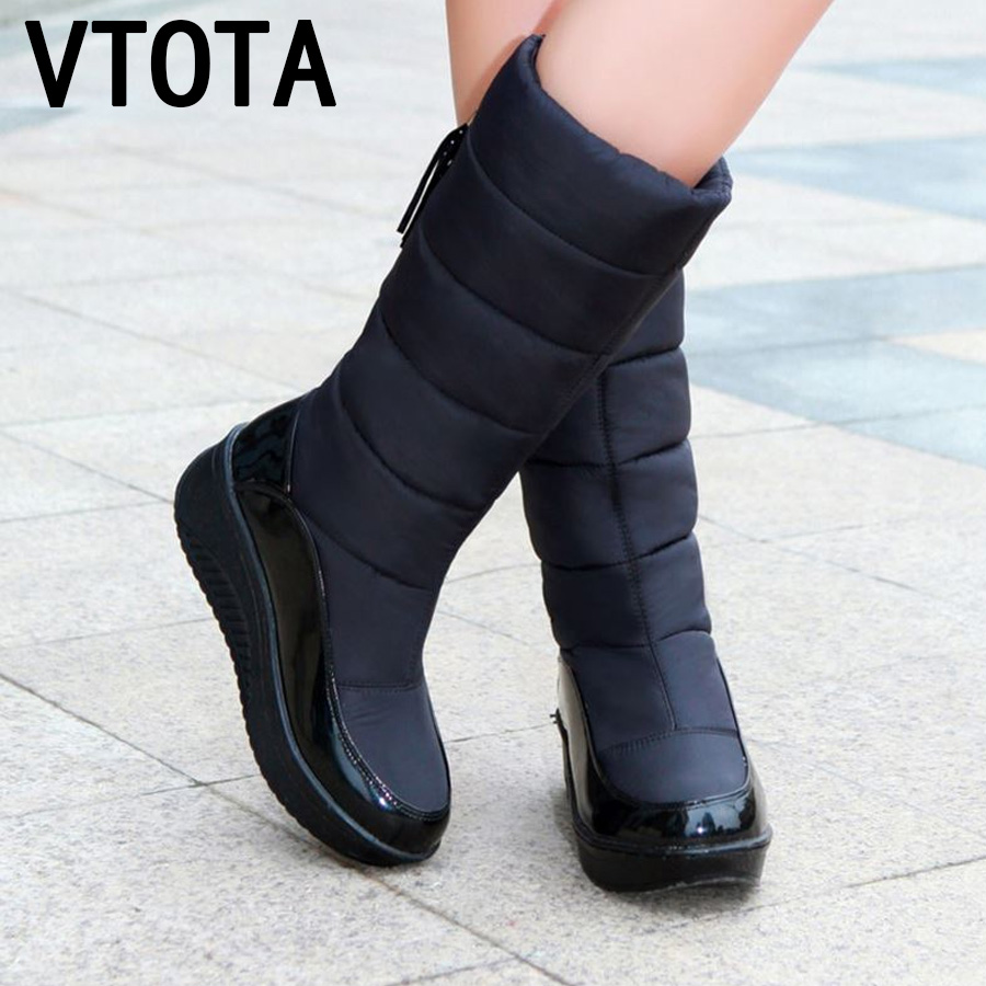 VTOTA  Snow Boots Women Winter Warm Platform Fur Fringe Shoes Wedges Heels Knee High Boots Women Leather Boots Bota Women Shoes