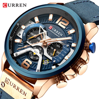 CURREN Fashion Sport Watches for Men Blue Top Brand Luxury Military Leather Wrist Watch Man Clock Fashion Chronograph Wristwatch