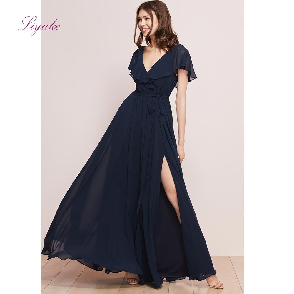 Liyuke A line   Bridesmaid     Dress   Chiffon Long   Dress   Splited V-neck Horn Sleeves Customized Free Shipping