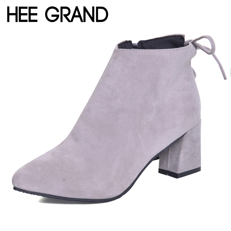 HEE GRAND Women Sexy Ankle Boots New Winter Warm Solid Pumps Shoes Suede Square Heels Boot Shoes Woman Plus Size 35-45 XWX5970