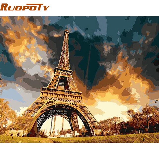RUOPOTY Frame Abstract Painting Tower Landscape DIY Painting By Numbers Kits Modern Wall Art Painting Hand Painted Home Decor