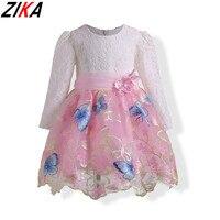 ZIKA Baby Girls Dress 2017 New Brand Print Princess Dress Autumn Style Lace Sleeve Flower Print