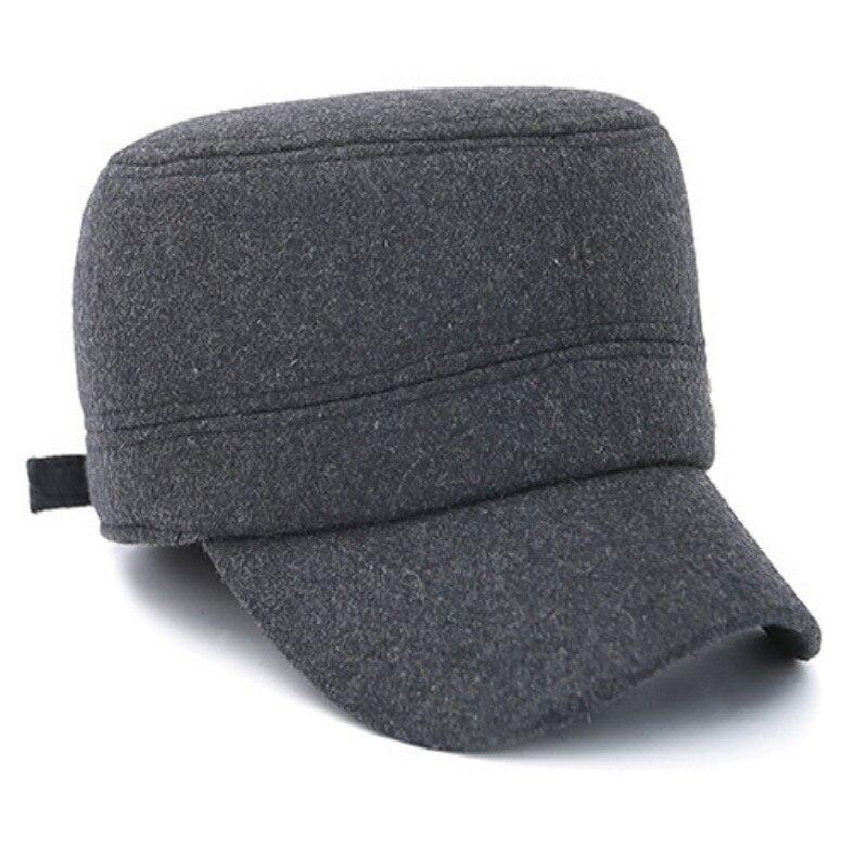 Kopfbedeckungen Für Herren Einstellbare Schwarz Grau Mann Warme Wolle Winter Military Hüte Caps Vintage Flache Kappe Gorras Retro Militär Bomber Knochen Mit Earflap Militärhüte