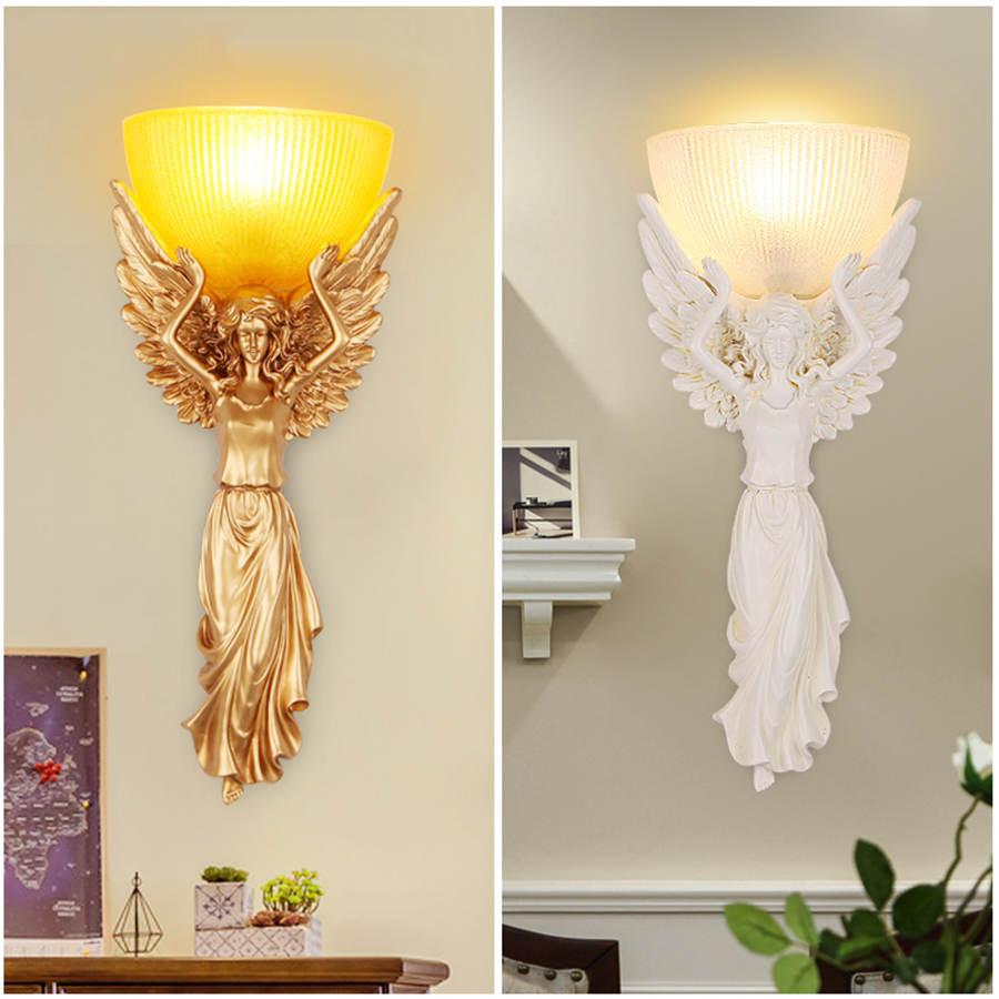 Art deco solemn angel wall lamp glass lampshade vintage living room decoration loft kitchen wall art dining room light fixtures