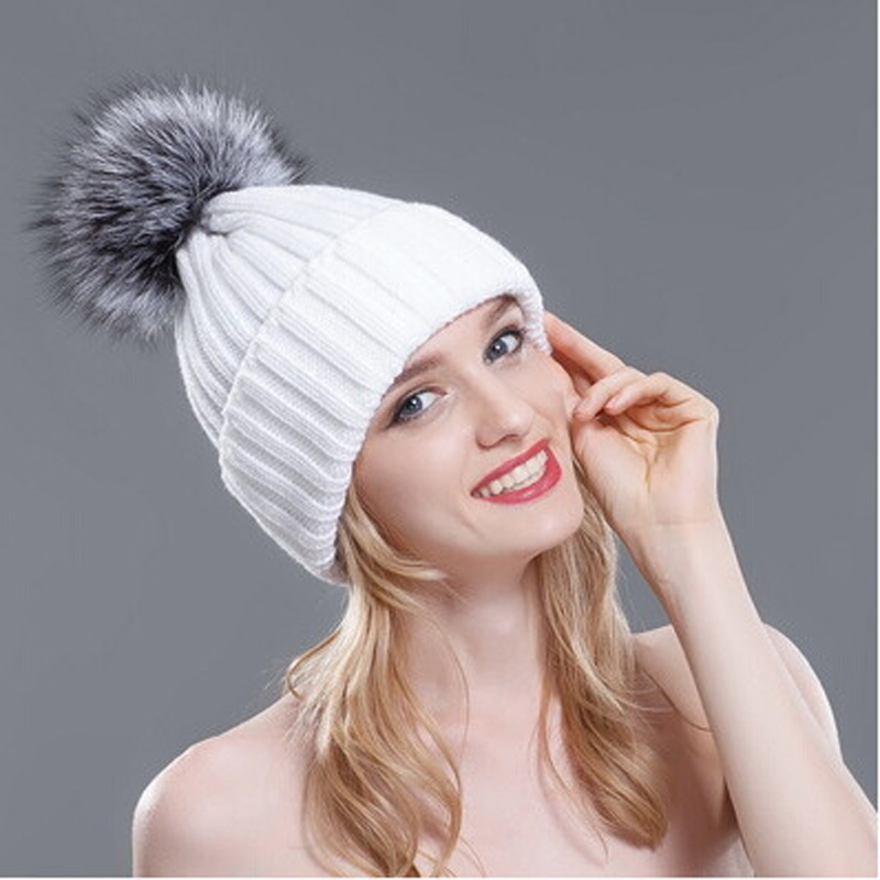 2016 Winter Hats for Women Thick Silver Fox Fur Ball Pompon Beanies Women Hat Warm Knitted Cute Female Fashion Caps MZ029 2016 new beautiful colorful ball warm winter beanies women caps casual sweet knitted hats for women outdoor travel free shipping