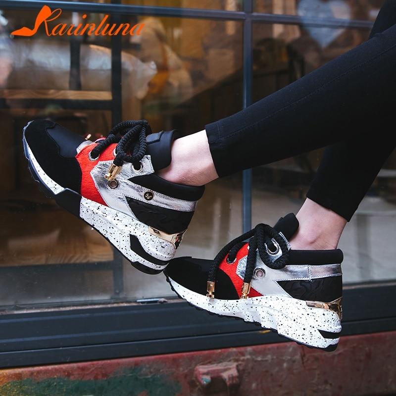 Casual Gran 35 Karinluna Tamaño Nueva Mujer De Negro Caballo Fiesta 42 Zapatos Crin Otoño Lujo Plataforma color Plana Vaca Primavera Ante x6pnT1q