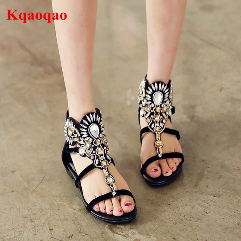 Sapato Feminino Women Sandals Crystal Embellished Gladiator Open Toe Back Zipper Summer Shoes Glitter Zapatos Mujer Girl Flats black sequins embellished open back lace up top
