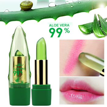 99% ALOE VERA Jelly Lipstick Temperature Change Color Moisturizing Lip Stick Pink Tint Makeup Batom 1
