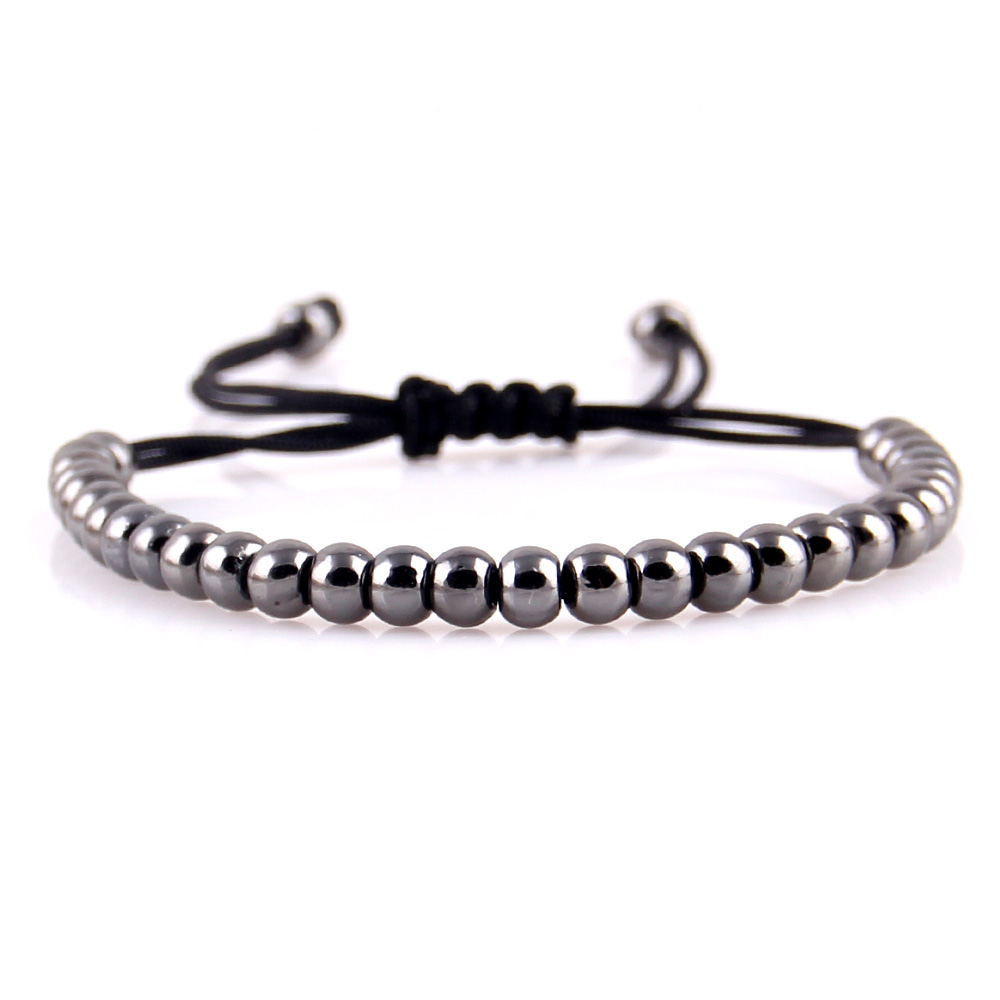 WML Fashion High Quality Brand 4mm Copper Round Beads Braided Macrame Men Bracelets Bangles For Women Jewelry Gift in Charm Bracelets from Jewelry Accessories