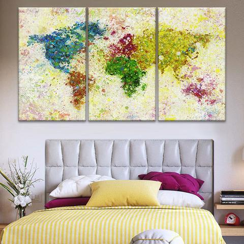 3 Pieces/sets Canvas Art 3 panels Paint Splash World Map HD Canvas ...