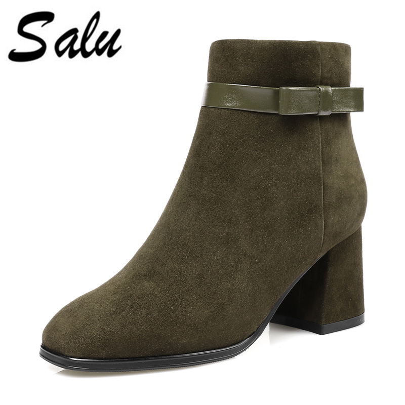 Salu Sexy Women Boots kid suede Leather Winter High Heels Ankle Boots Shoes Women Fall Ladies Short Boots NEW Zip fashion short booties suede soft leather patchwork belt buckle side zip spike high heels ankle boots royston boots women shoes