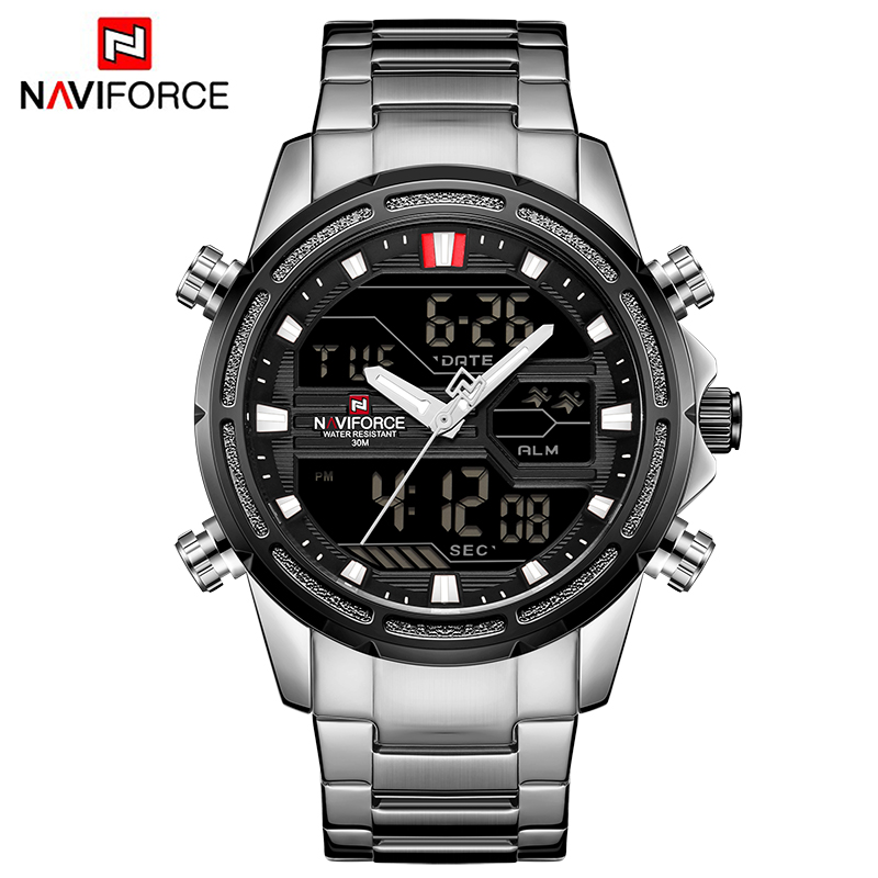 NAVIFORCE Luxury Brand Men's Military Sports Watch Men Fashion Army Quartz Watches Male Stainless Steel LED Analog Digital Clock q&q часы q&q vq50j006 коллекция кварцевые