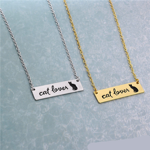 New Cat Lovers Lettering Necklace Jewelry Cute Cat Bar Necklace  1