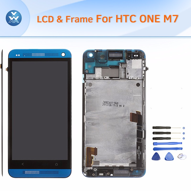 HTC One M7 LCD & Digitizer Assembly with Frame - Blue