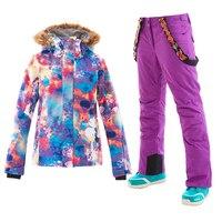 2018 GS Womens Ski Suits Colorful Snow Suit Women Mountain Skiing Snowboard Jacket Pants chaqueta nieve mujer veste ski femme