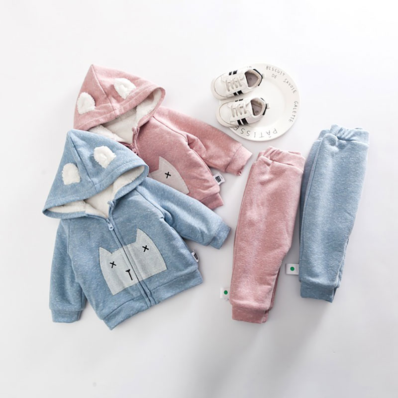 NEW Baby Boys Set 2018 Auntumn Winter Baby Girl Cotton Coat Thick Warm Coat Pants Warm New Outerwear Cute Jacket Clothing