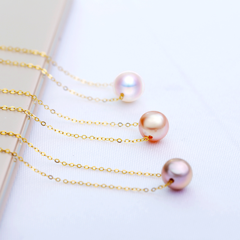 DAIMI-Simple-Pearl-Choker-Necklace-7-8mm-Fresheater-Pearl-Pendant-925-Silver-Chain-Best-Gift-for