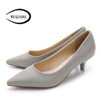 2016 Woman Shoes Genuine Leather Inside Low Heels Women Pumps Stiletto Thin Heel Women S Work