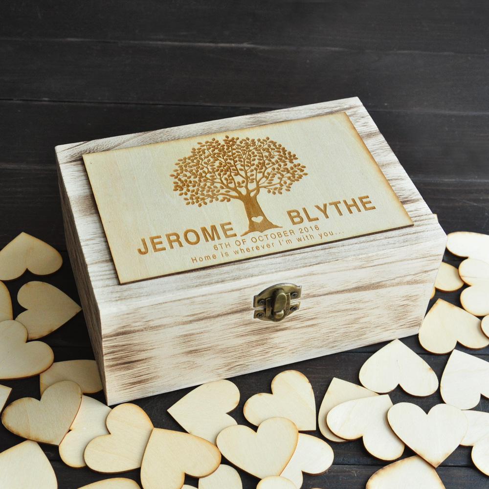 Personalized Wedding guest book Rustic wedding guestbook Custom Wooden Rectangle Keepsake box wedding box with 100